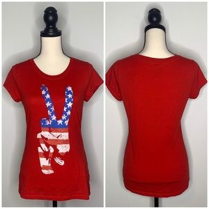 Hybrid red white blue patriotic peace sign tee